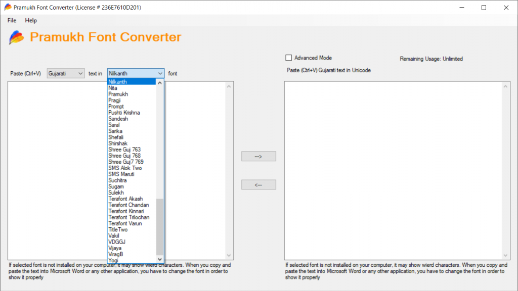 List of available font conversion in Pramukh Font Converter