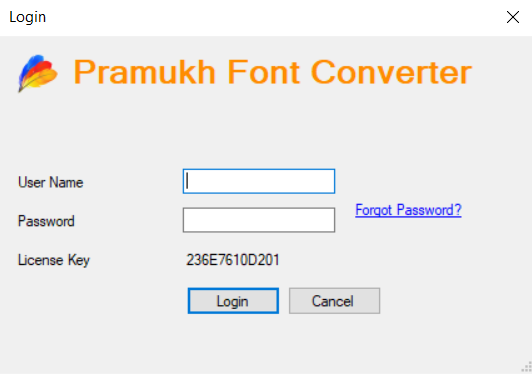 Pramukh Font Converter login screen