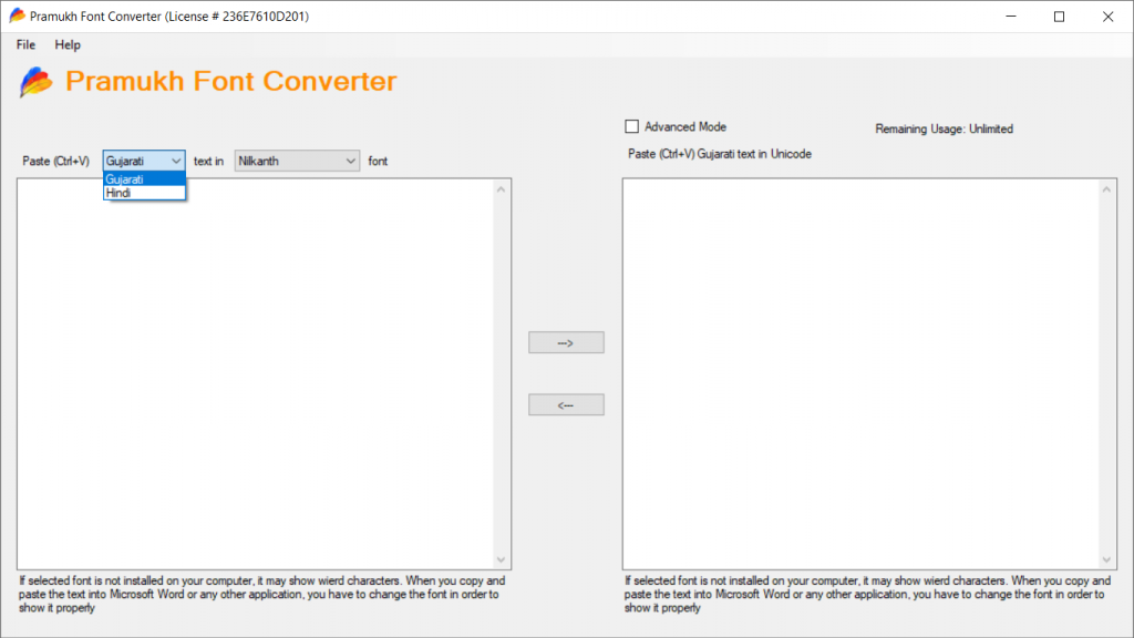 List of available languages in Pramukh Font Converter