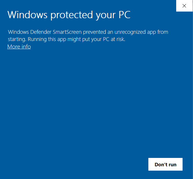 Windows Defender dialog with More Info button