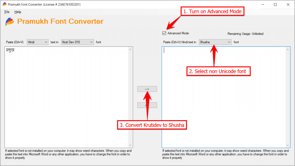 Convert Kruti Dev to Shusha using Advanced Mode